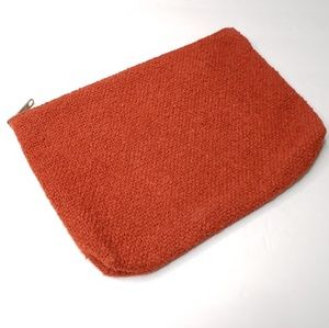 Vintage Zipper Orange Woven Pouch Clutch